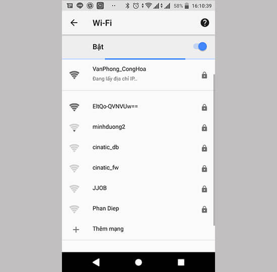Mất kết nối wifi (điện thoại android)
