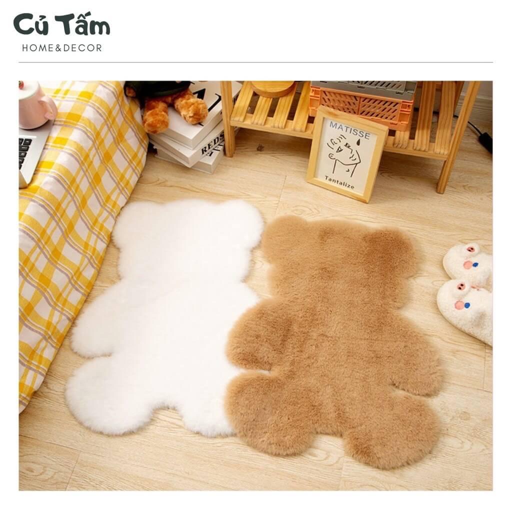 Thảm gấu lông trải sàn - phòng ngủ vintage